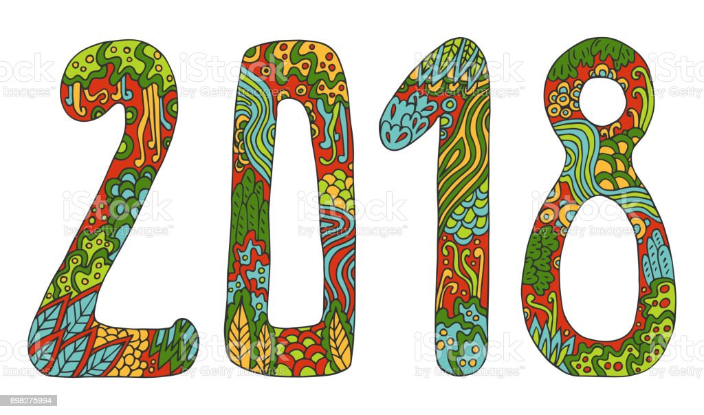 new year vector cute doodles hand drawn sign cartoon style with numbers 2018 on winter holiday