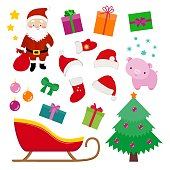 Christmas design elements set, Santa, sledge, hat, fir tree, stars, snowflakes, present boxes, gift packages, pig symbol of new year 2019, cute cartoon flat style for web graphics, stickers, smile.
