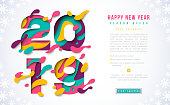 Happy New Year 2019 banner template with abstract paper cut numbers. Vector illustration. Colorful 3D carving art for posters, brochure or voucher discount.