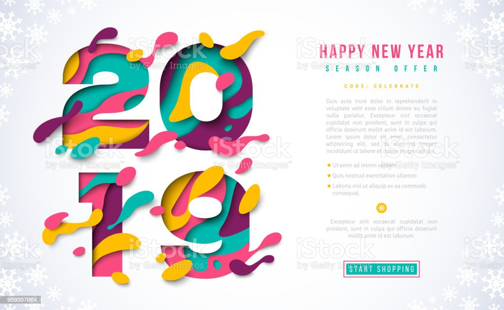 2019 New Year voucher design vector art illustration