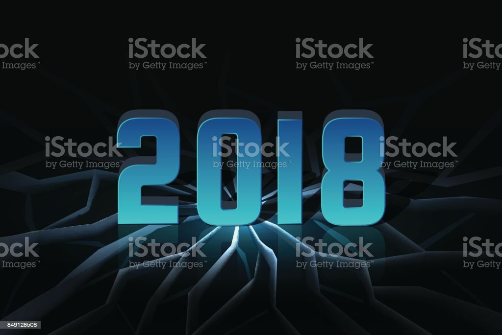 2018 New Year Wallpaper Banner With Ice Cracks Stock