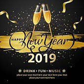 Join the countdown party on the New Year's Eve of 2019 with wine glasses toasting on black background of gold colored paint brush, ribbon and stars