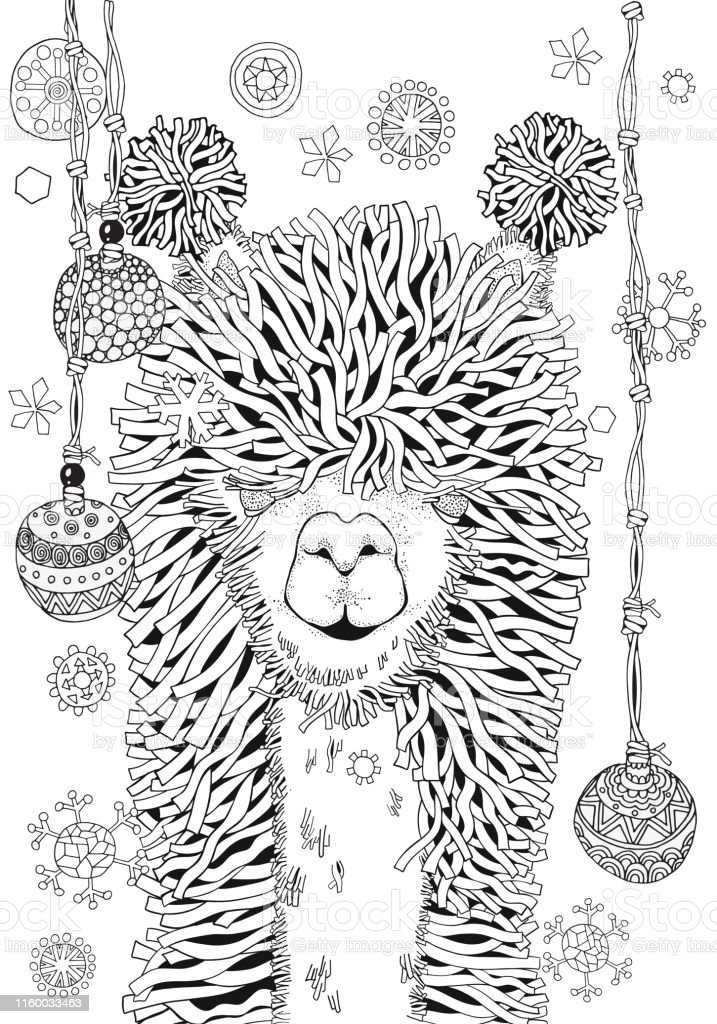 New Year Winter Llama Coloring Book Page For Adult And ...