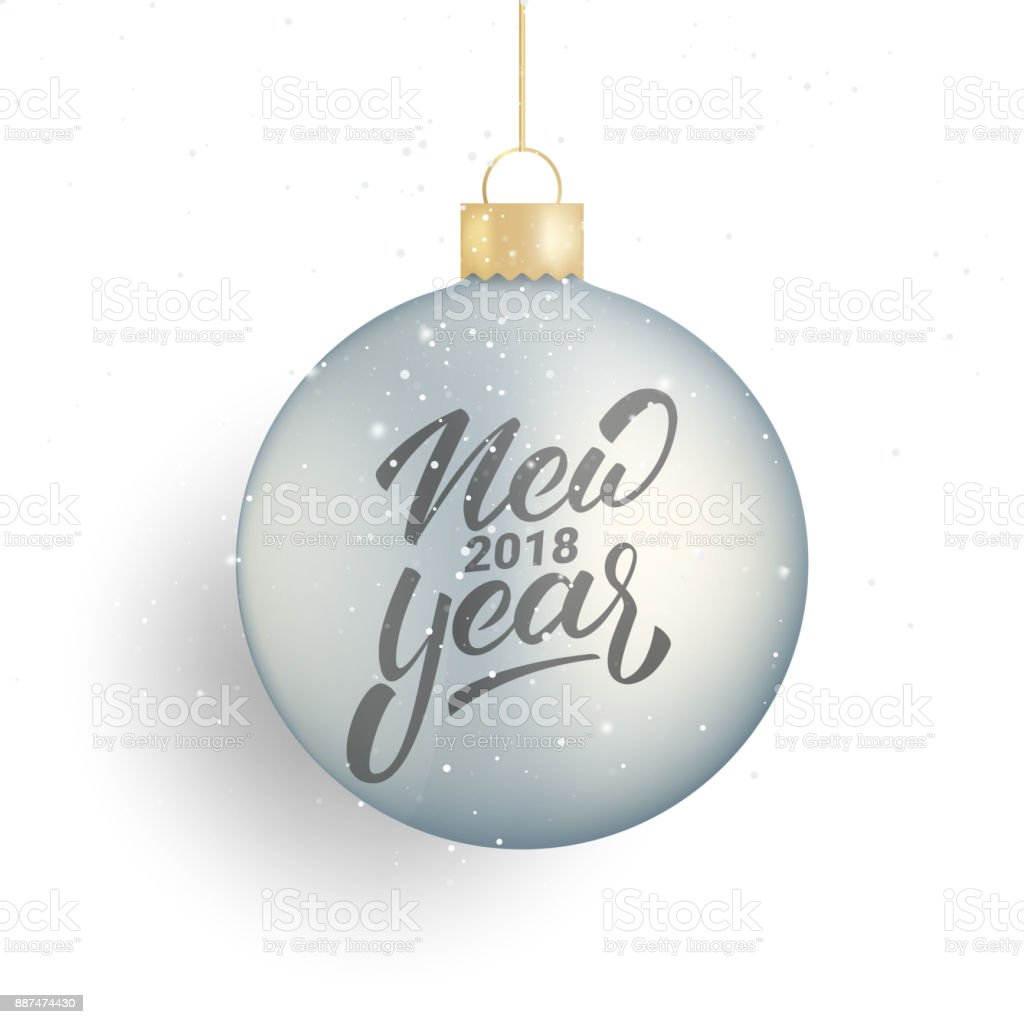 New Year Winter Seasonal Lettering New Year 2018 Realistic Christmas ...
