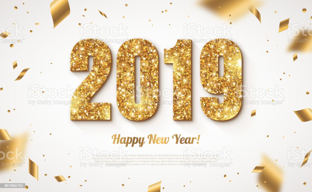 2019 New Year with confetti vector art illustration