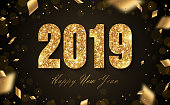 Happy New Year Banner with Gold 2019 Numbers on Black Background with Flying Confetti. Vector illustration.