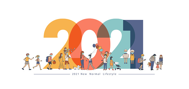 2021 New year with New normal lifestyle ideas concept. People wearing mask in flat big letters design. Vector illustration modern layout template