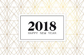 New Years 2018 Greeting card with date and art deco background