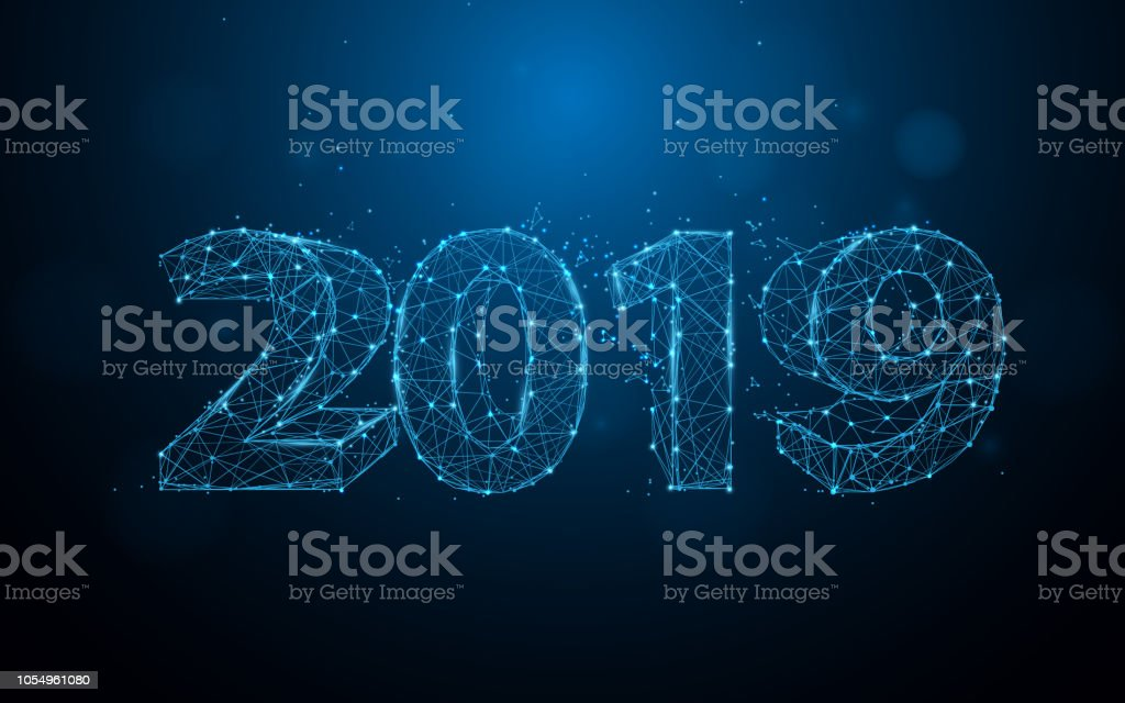 New years 2019 form lines, triangles and particle style design. Illustration vector New years 2019 form lines, triangles and particle style design. Illustration vector 2019 stock vector