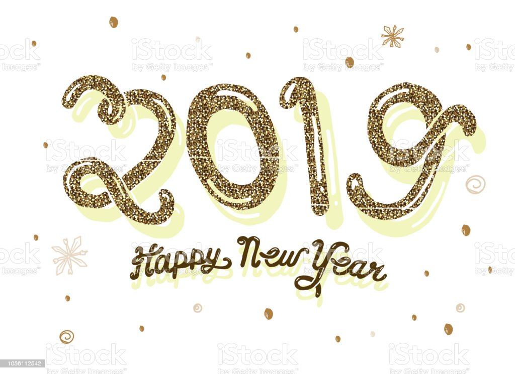 Vector illustration of a New Years 2019 greeting card design banner...