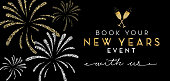 Vector illustration of a New Years 2019 party reservation booking design web banner with text. Book your New Years Event with us. Easy to edit with layers. Golden glitter colors.