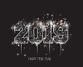 New Years 2019 polygonal line and fireworks background