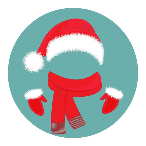 silvester zubehör. weihnachtsmann mütze, schal und handschuhe - hauben stock-grafiken, -clipart, -cartoons und -symbole