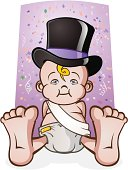 The symbolic newborn baby of the New Year! His sash is left blank so you can put in whatever phrase you want.