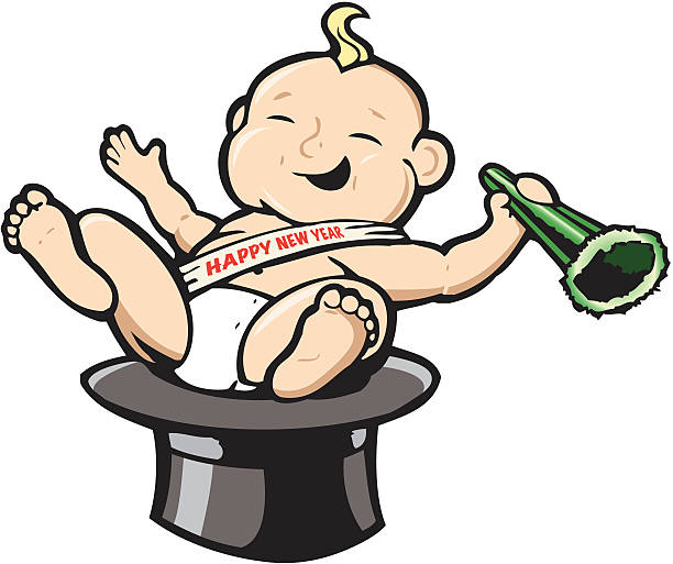 new years baby vector art illustration