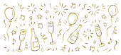 Doodle New Year's background with a bottle of champagne, glasses, balloons, confetti, fireworks and stars. New Year's drawings, contour, gold and glowing. Vector background, eps. 10.
