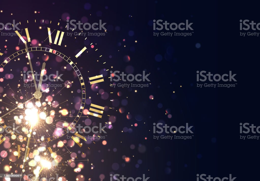 New Years background vintage gold shining clock report time five minutes to midnight - Royalty-free 2020 arte vetorial