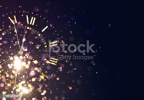 New Years background vintage gold shining clock report time five minutes to midnight.