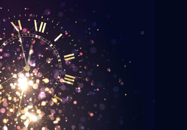 ilustraciones, imágenes clip art, dibujos animados e iconos de stock de año nuevo fondo oro vintage brillante reloj informe de tiempo cinco minutos a medianoche - año nuevo