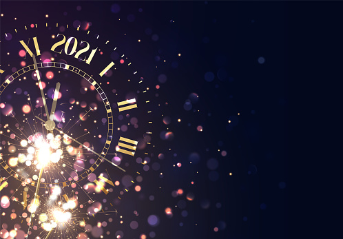 2021 New Years background vintage gold shining clock report time five minutes to midnight. Christmas golden lights. Background of bright glow bokeh. Xmas banner, poster. Holiday vector illustration