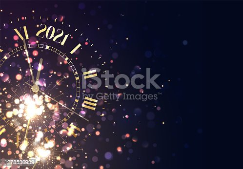 istock 2021 New Years background vintage gold shining clock report time five minutes to midnight. Christmas golden lights. Background of bright glow bokeh. Xmas banner, poster. Holiday vector illustration 1278536939