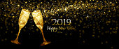 New Year's background with Champagne Low Poly and Flickering Lights. Vector illustration
