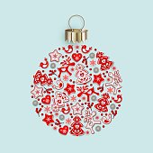 New Years ball with ornament of Christmas toys in Scandinavian style