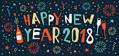 hand-drawn 2018 New Year's Banner with a bottle of champagne, glasses and fireworks in the background. You can edit the colors or sizes easily if you have Adobe Illustrator or other vector software. All shapes are vector