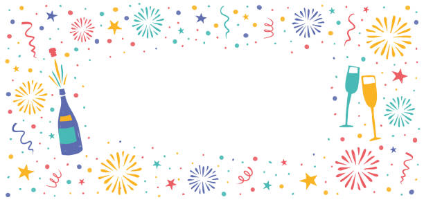 New Year's Banner with fireworks in the background vector art illustration
