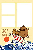 New year's card 2019.Cute wild boar on a surfboard.photo frame.
