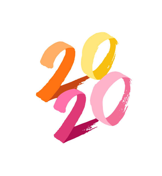 New Year's card 2020, with confetti vector art illustration