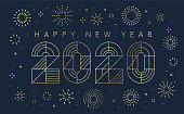 Happy new year wishes arranged in the center of a geometric linear fireworks. You can edit the colors or sizes easily if you have Adobe Illustrator or other vector software. All shapes are vector