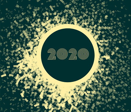 New Year's card 2020 with fireworks, modern design