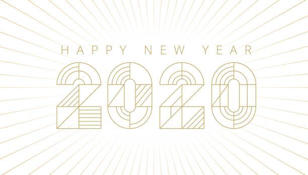 ilustraciones, imágenes clip art, dibujos animados e iconos de stock de tarjeta de año nuevo 2020 con fuegos artificiales, diseño moderno - tipos de letra de líneas finas