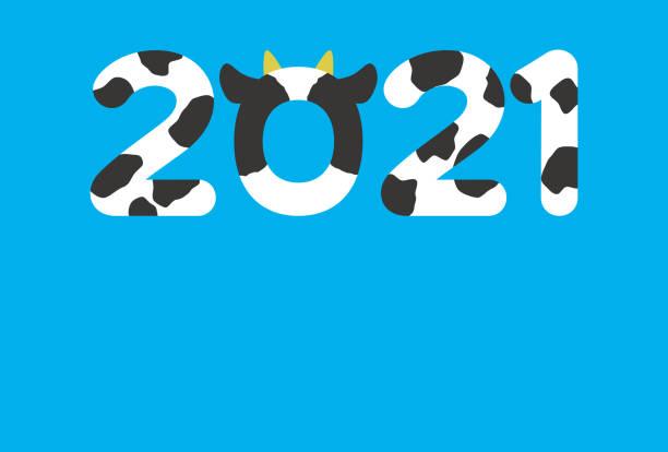 새해 카드 2021 템플릿, 귀여운 2021 및 파란색 배경 - 샘플 텍스트 stock illustrations