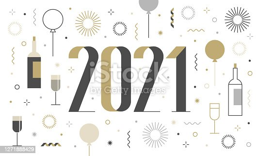istock New Year's card 2021 with fireworks, confetti, modern design 1271888429