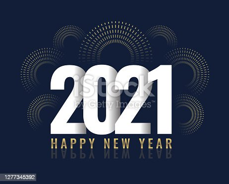 istock New Year's card 2021 with fireworks, modern design 1277345392