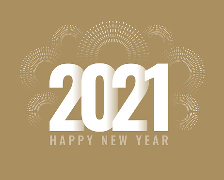 New Year's card 2021 with fireworks, modern design