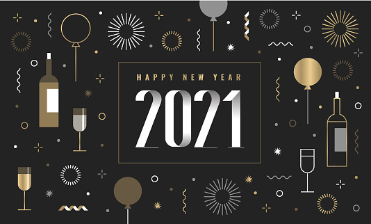 New Year's card 2021 with happy new year wishes and new year icon set