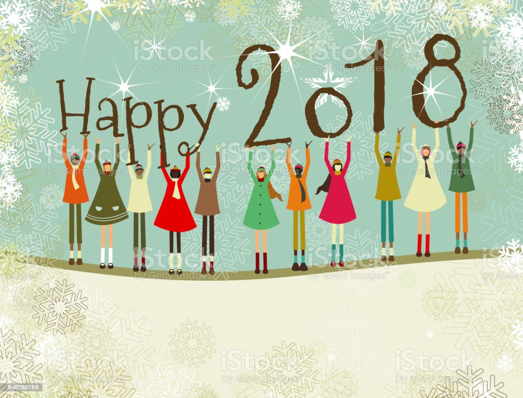 New year's card and children vector art illustration