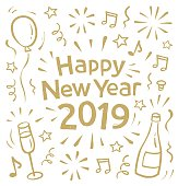 New Year's card doodle with motif of a bottle of champagne and glasses. You can edit the colors or sizes easily if you have Adobe Illustrator or other vector software. All shapes are vector
