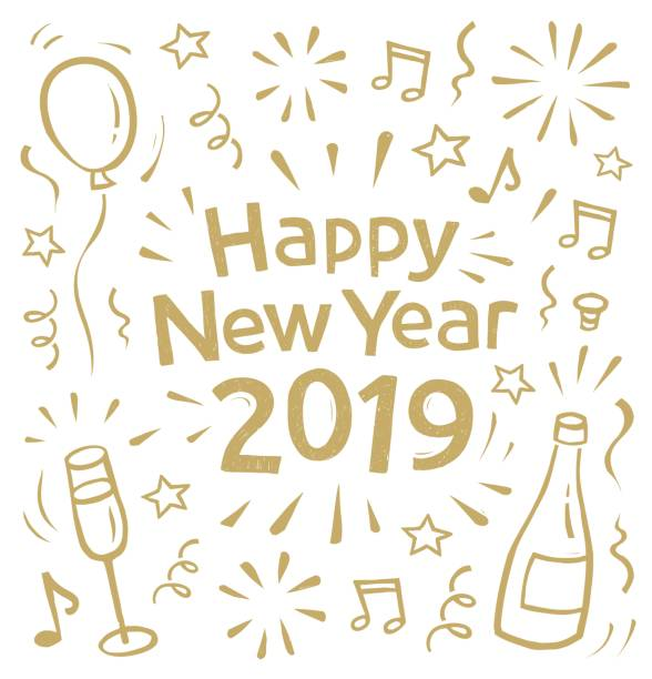 New Year's card doodle 2019 vector art illustration
