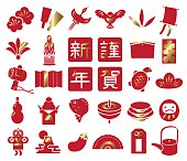 New Year's card icon material set.