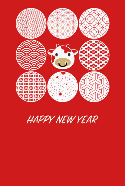 New Year's card illustration with eight circular cutouts of cow icons and Japanese patterns. vector art illustration
