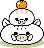New Year's Card Material _ Parent-child of White Rice Cake-shaped Wild Boar