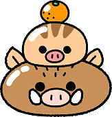 New Year's card material _ Parent-child of wild boar type wild boar