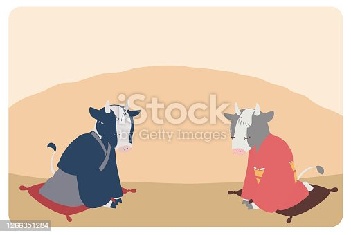 New Year's card material Social distance cow (no line)