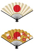 New Year's card material: vector illustration of Hinomaru fan and fan with Hinomaru and plum pattern\nJapanese new year decoration