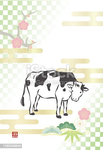istock New year's card template for Year of the Ox(No word of greeting) 1285008845