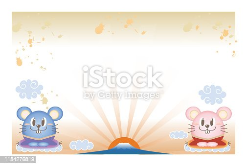 New Year's card template, mouse with Brush pattern